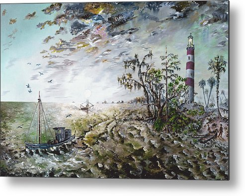 Lighthouse Metal Print featuring the painting Sapelo Island by Richard Barham