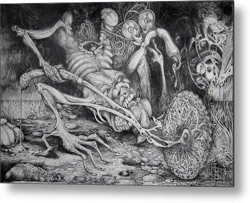 Surrealism Metal Print featuring the drawing Selfpropelled Beastie Seeder by Otto Rapp