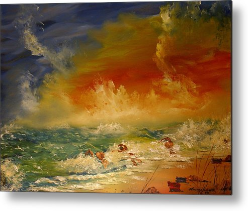 Nature/water/swiming/beaches/people Metal Print featuring the painting Skinny Dipping by Lorenzo Roberts