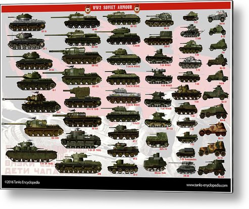 Soviet Metal Print featuring the digital art Soviet Tanks ww2 by The collectioner