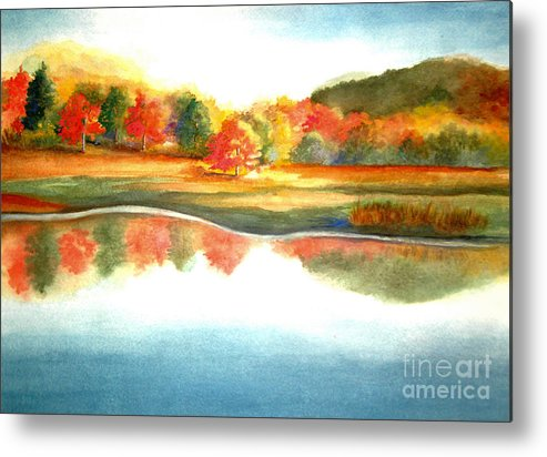 Landscape Metal Print featuring the painting Stanley Park In the Fall by Vi Mosley