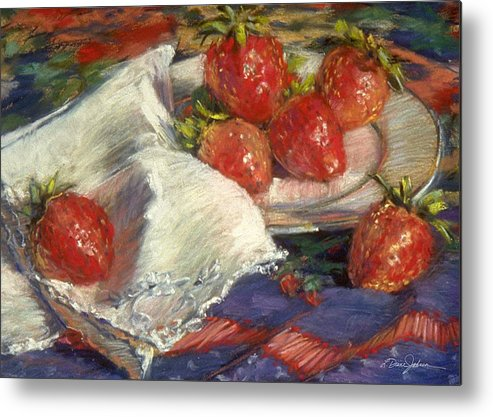 Still Life Metal Print featuring the painting Strawberries by L Diane Johnson