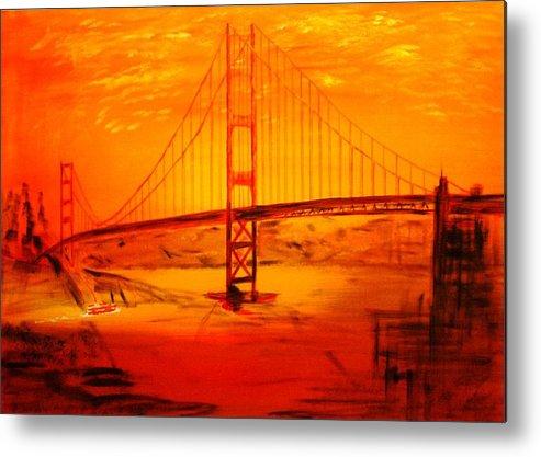 Sunset At Golden Gate Metal Print featuring the painting Sunset At Golden Gate by Helmut Rottler