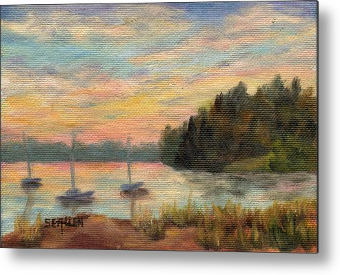 Sunset Metal Print featuring the painting Sunset Over Massabessic by Sharon E Allen