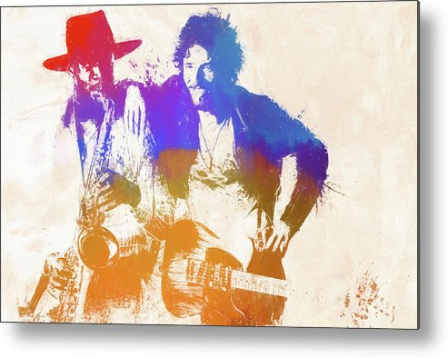 Bruce And The Big Man Metal Print featuring the painting The Boss And The Big Man by Dan Sproul