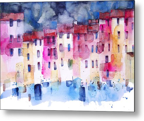 Architecture Metal Print featuring the painting The coloured houses of Portofino by Alessandro Andreuccetti