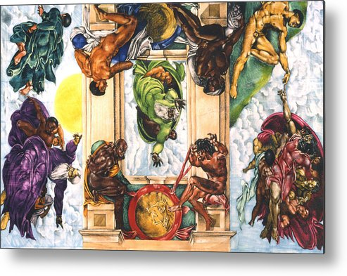 Sistine Chapel Metal Print featuring the mixed media The Creation...In My Minds Eye by Lamark Crosby