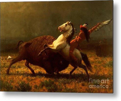 Albert Bierstadt Metal Print featuring the painting The Last of the Buffalo by Albert Bierstadt