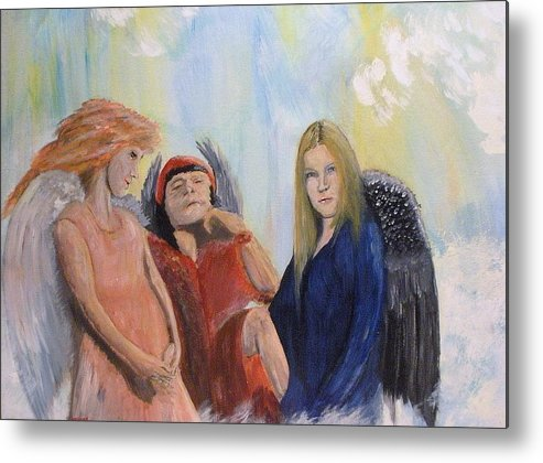 She Wonders Are They Worth It? Metal Print featuring the painting They Talk Of Man by J Bauer