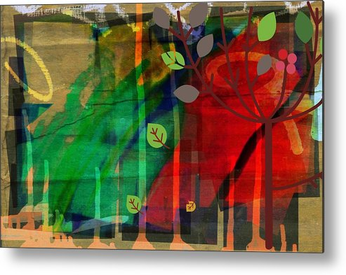 Abstract Color Metal Print featuring the digital art Tree and a skewed rainbow by Joseph Ferguson