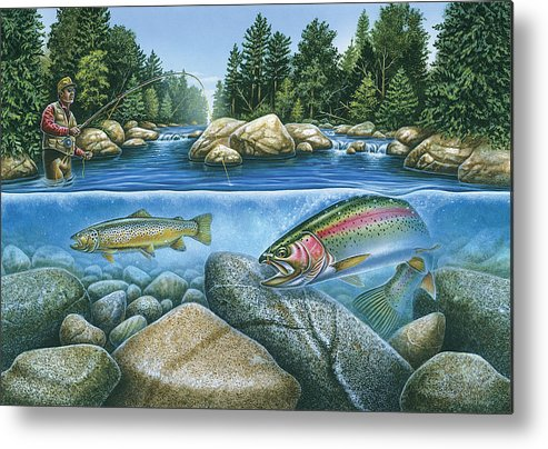 Jon Q Wright Metal Print featuring the painting Trout View by JQ Licensing
