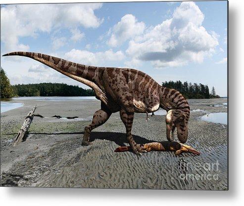 Dinosaur Metal Print featuring the digital art Tyrannosaurus enjoying seafood by Julius Csotonyi