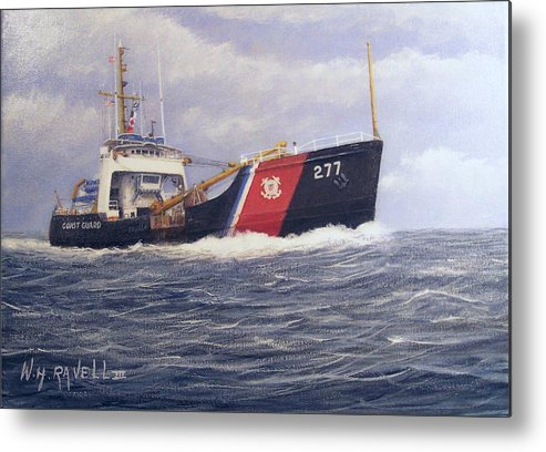 Seascape Metal Print featuring the painting U. S. Coast Guard Buoy Tender by William H RaVell III