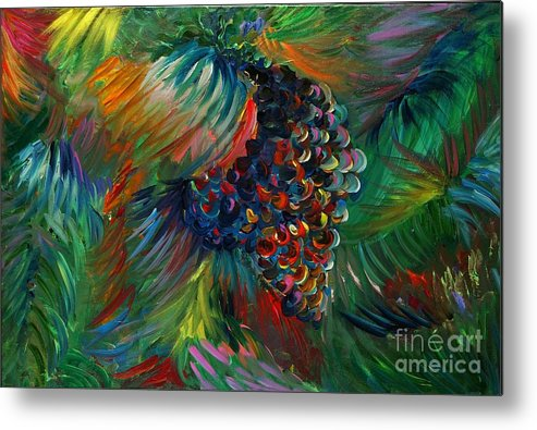 Grapes Metal Print featuring the painting Vibrant Grapes by Nadine Rippelmeyer