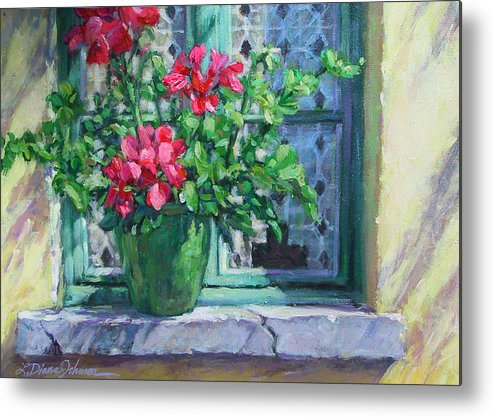 Red Geranium Metal Print featuring the painting Village Welcome Giverny France by L Diane Johnson