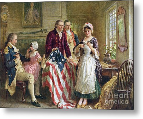 Betsy Ross Metal Print featuring the painting Vintage illustration of George Washington watching Betsy Ross sew the American flag by American School