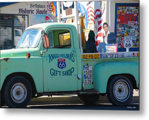 Gift Shop Metal Print featuring the photograph Vintage Truck with Elvis on Historic Route 66 by Victoria Oldham