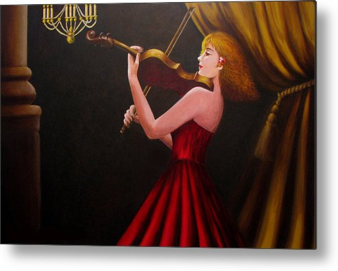 Oil Metal Print featuring the painting Violinist by Anh T Chau