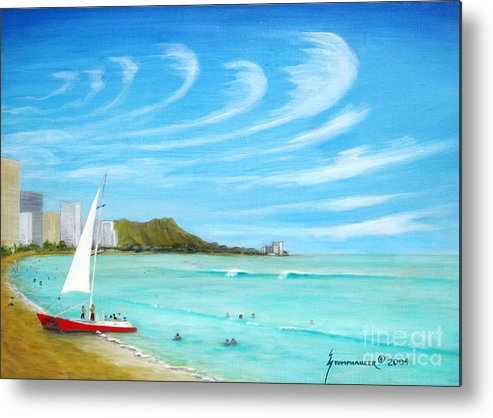 Waikiki Metal Print featuring the painting Waikiki by Jerome Stumphauzer