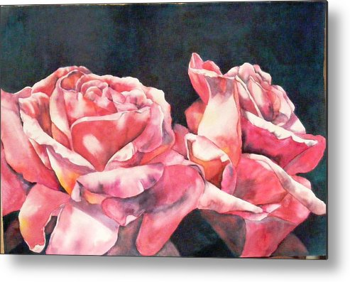 Roses Metal Print featuring the painting Watercolor Roses by Diane Ziemski