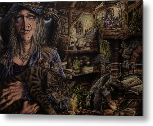 Fantasy Metal Print featuring the painting Which witch is which by Robert Haasdijk