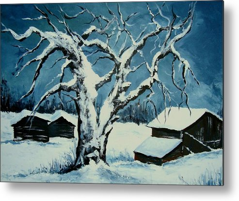 Landscape Metal Print featuring the painting Winter Landscape 571008 by Veronique Radelet
