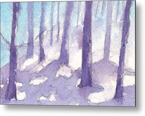 Winter Landscape Metal Print featuring the painting Winter Trees by Jan Bennicoff