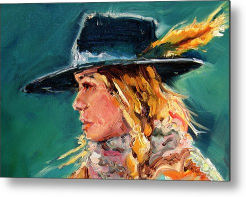 Cowgirl Metal Print featuring the painting Wyoming Cowgirl Close by Diane Whitehead