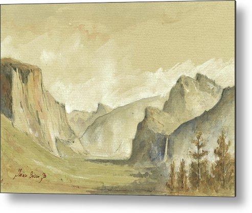 Yosemite Landscape Metal Print featuring the painting Yosemite National Park by Juan Bosco