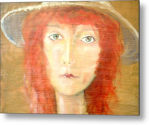Woman Metal Print featuring the painting You found my hat by J Bauer