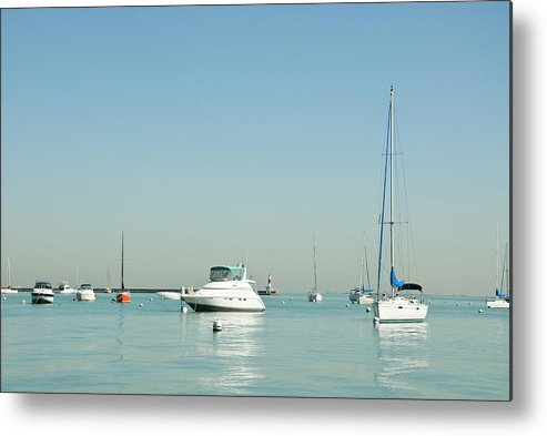 Billabong Metal Print featuring the photograph Boats On Lake Michigan by Weible1980