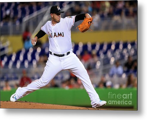 People Metal Print featuring the photograph Cincinnati Reds V Miami Marlins by Rob Foldy