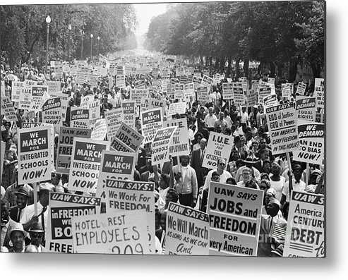 Crowd Of People Metal Print featuring the photograph Civil Rights March On Washington by Bettmann