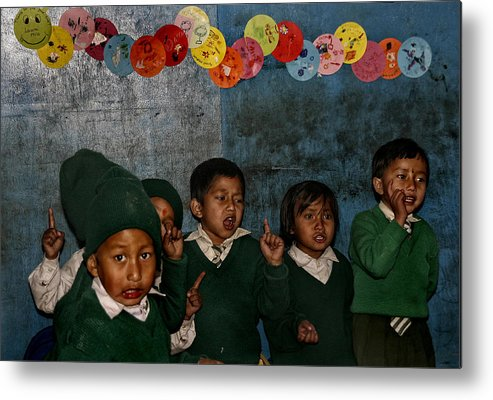 Nepal Metal Print featuring the photograph Classroom Song by Yvette Depaepe