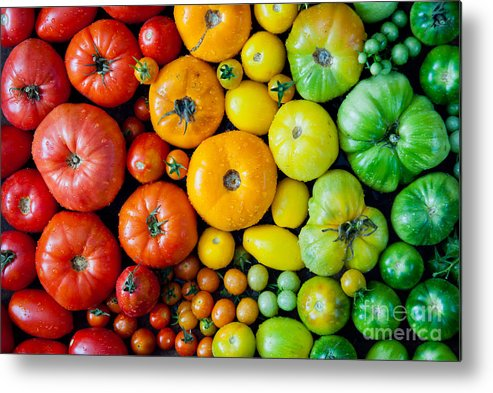 Beauty Metal Print featuring the photograph Fresh Heirloom Tomatoes Background by Letterberry