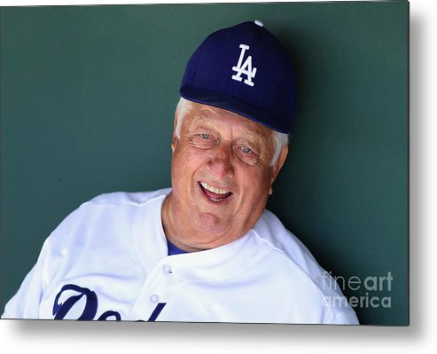 People Metal Print featuring the photograph Milwaukee Brewers V Los Angeles Dodgers by Christian Petersen