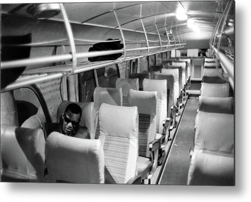 Usa Metal Print featuring the photograph Ray Charles On His Tour Bus by Bill Ray