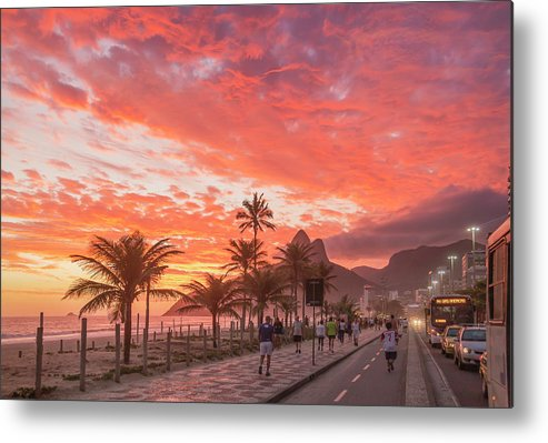 Majestic Metal Print featuring the photograph Sunset Over Ipanema Beach by Buena Vista Images