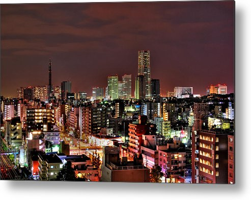 Tranquility Metal Print featuring the photograph Yokohama Nightscape by Copyright Artem Vorobiev