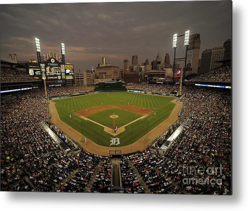 American League Baseball Metal Print featuring the photograph Cleveland Indians V Detroit Tigers by Mark Cunningham