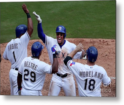 Adrian Beltre Metal Print featuring the photograph Seattle Mariners V Texas Rangers by Tom Pennington