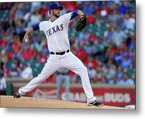 American League Baseball Metal Print featuring the photograph Houston Astros V Texas Rangers by Tom Pennington