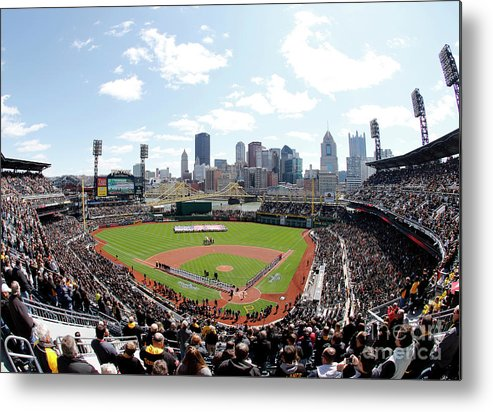 American League Baseball Metal Print featuring the photograph St Louis Cardinals V Pittsburgh Pirates by Justin K. Aller