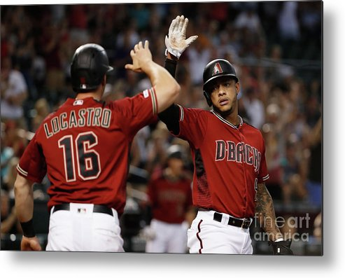 Three Quarter Length Metal Print featuring the photograph Washington Nationals V Arizona by Christian Petersen