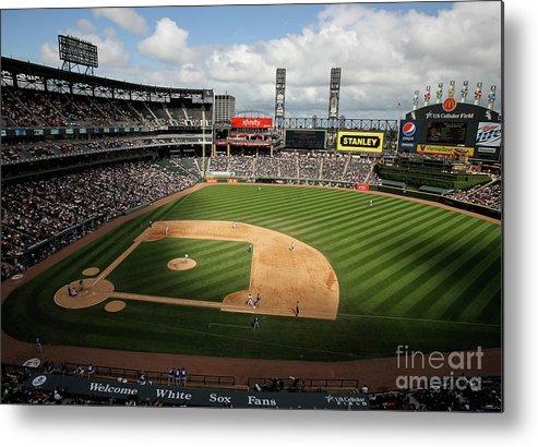 Shadow Metal Print featuring the photograph Kansas City Royals V Chicago White Sox by Jonathan Daniel