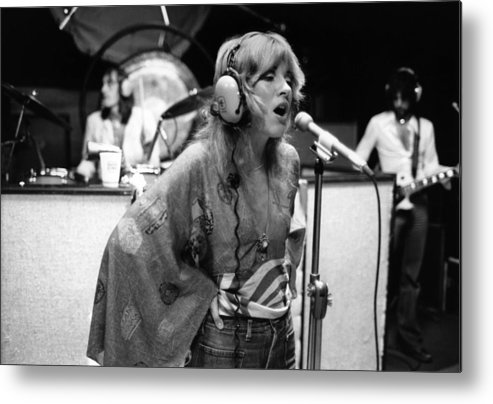 Music Metal Print featuring the photograph Photo Of Stevie Nicks And Fleetwood Mac by Fin Costello