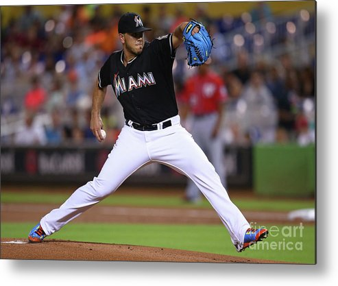 People Metal Print featuring the photograph Washington Nationals V Miami Marlins by Rob Foldy
