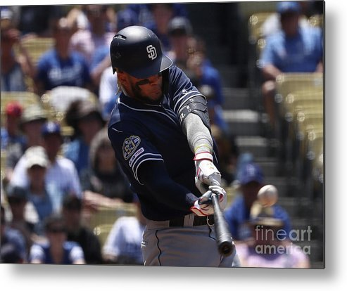Three Quarter Length Metal Print featuring the photograph San Diego Padres V Los Angeles Dodgers by Victor Decolongon