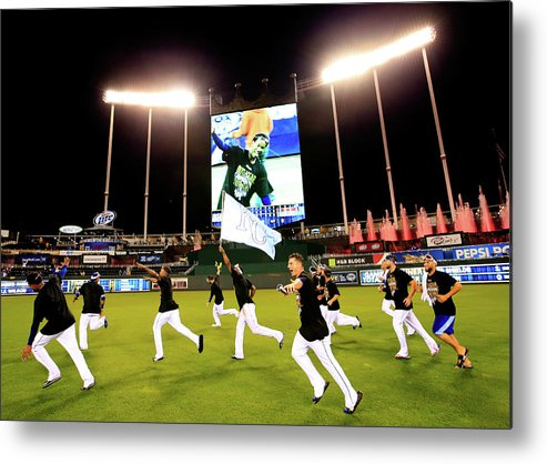 American League Baseball Metal Print featuring the photograph Division Series - Los Angeles Angels Of by Jamie Squire