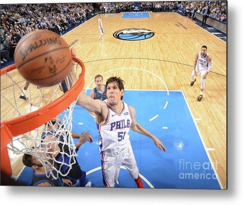 Nba Pro Basketball Metal Print featuring the photograph Philadelphia 76ers V Dallas Mavericks by Glenn James